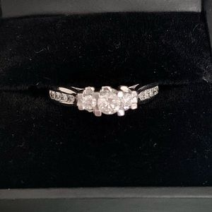 Diamond trinity engagement ring
